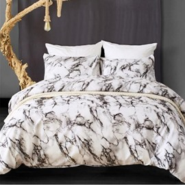 Grey Simple Marble Printing Polyester 3-Piece Bedding Sets/Duvet Cover