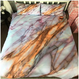 Unique Marble Cracks Printing Polyester 3-Piece Bedding Sets/Duvet Cover