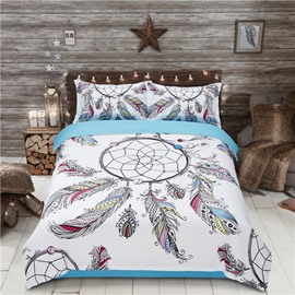 Vibrant Dream Catcher with Flying Feathers Printing 4-Piece Polyester Bedding Sets/Duvet Cover