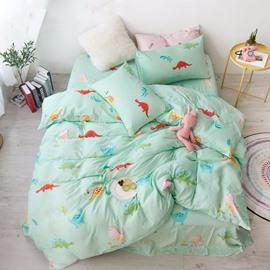 Cotton Light Green Dinosaur Pattern Cartoon Style 4-Piece Kids Bedding Sets/Duvet Cover