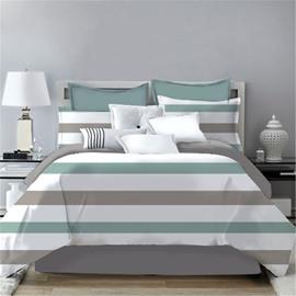 Simple Stripes Design Printing 4-Piece Polyester Bedding Sets/Duvet Cover