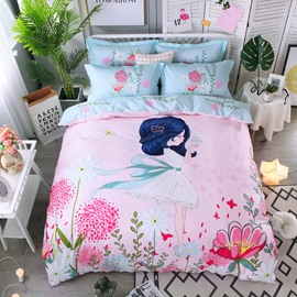 Girl and Flower Printing Cotton 4-Piece Bedding Sets/Duvet Cover