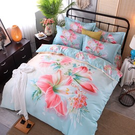 Pink Lily Printing Cotton 4-Piece Bedding Sets/Duvet Cover