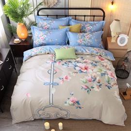 Elegant Flower Printing Cotton 4-Piece Bedding Sets/Duvet Cover