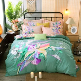 Colorful Flowers Printing Green Cotton 4-Piece Bedding Sets/Duvet Cover