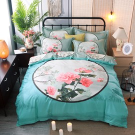 Pink Flower in the Mirror Printing Cotton Blue 4-Piece Bedding Sets/Duvet Cover