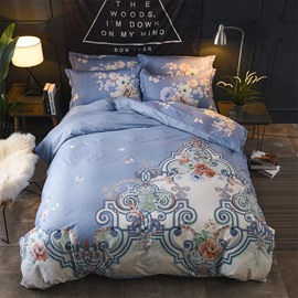 Fashion and Elegance Flower Printing Blue Cotton 4-Piece Bedding Sets/Duvet Cover