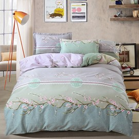 Elegant Plum Blossom Printing Light Purple Cotton 4-Piece Bedding Sets/Duvet Cover