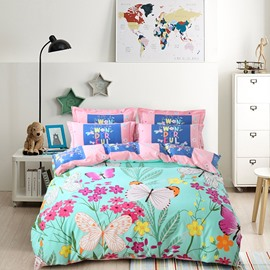Butterflies and Colorful Flower Printing Cotton 4-Piece Bedding Sets/Duvet Cover