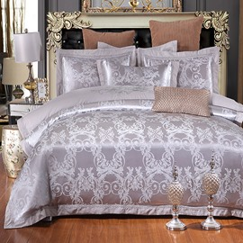 Geometric Jacquard Pattern Silver Gray Polyester 4-Piece Bedding Sets/Duvet Cover