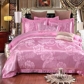 Peonies Embroidery Pink Polyester 4-Piece Bedding Sets/Duvet Cover