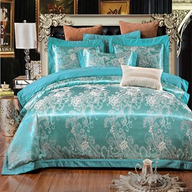 Embroidery Flower Pattern Emerald Green Polyester 4-Piece Bedding Sets/Duvet Cover