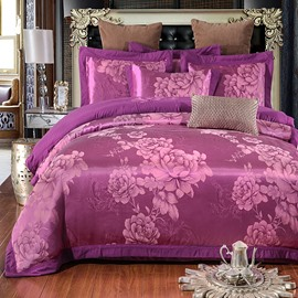 Peonies in Full Bloom Jacquard Purple Polyester 4-Piece Bedding Sets/Duvet Cover