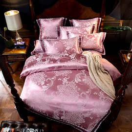 Jacquard Flower Smooth Light Pink 4-Piece Polyester Bedding Sets/Duvet Cover