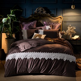 Plain Pattern Dark Coffee 4-Piece Polyester Bedding Sets/Duvet Cover