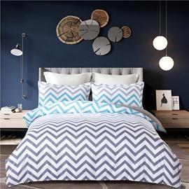Simple V Shape Pattern Printing Grey 4-Piece Polyester Bedding Sets/Duvet Cover