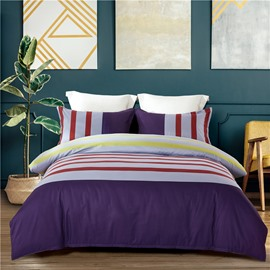 Simple Red Stripes Printing 4-Piece Polyester Bedding Sets/Duvet Cover