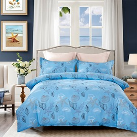 Sea Shell Printing Blue 4-Piece Polyester Bedding Sets/Duvet Cover