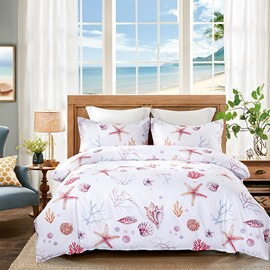 Pink Sea Shell and Starfish Printing 4-Piece Polyester Bedding Sets/Duvet Cover