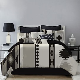 Ethnic Geometric Style Black and White Printing 4-Piece Polyester Bedding Sets/Duvet Cover