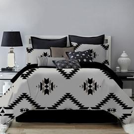 Unique Geometric Pattern Black Printing 4-Piece Polyester Bedding Sets/Duvet Cover