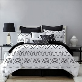 Geometric Style White Printing 4-Piece Polyester Bedding Sets/Duvet Cover