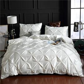 Unique Pintuck Pleat Design Polyester 3-Piece Bedding Sets/Duvet Covers