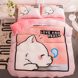 Sleeping Cute Dog Pink Flannel 4-Piece Soft Bedding Sets/Duvet Cover