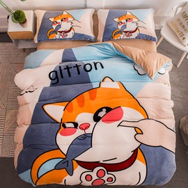 Cat Eating Fish Printed Flannel 4-Piece Bedding Sets/Duvet Cover