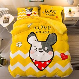 Cartoon Bulldog Printed Yellow Flannel 4-Piece Bedding Sets/Duvet Cover