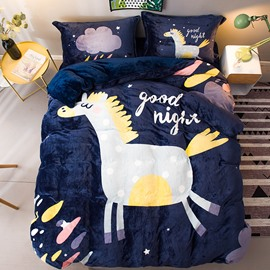 Cartoon White Horse Printed Flannel 4-Piece Bedding Sets/Duvet Cover