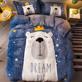 Cartoon Bear and Stars Blue Printed Flannel 4-Piece Bedding Sets/Duvet Cover