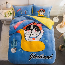 Cartoon Dog and Little Yellow Duck Printed Flannel 4-Piece Soft Bedding Sets/Duvet Cover