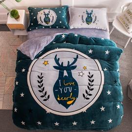 Nordic Elk Dark Green Printing Flannel 4-Piece Soft Bedding Sets/Duvet Cover