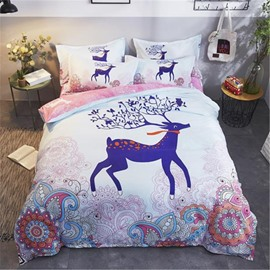 Purple Deer Printed Polyester 4-Piece Bedding Sets/Duvet Cover