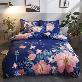 Pink Blooming Flower Printed Polyester 4-Piece Bedding Sets/Duvet Cover