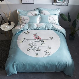 Bird and Flower Light Green Polyester 4-Piece Bedding Sets/Duvet Cover