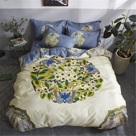 Butterfly and Flower Printed Polyester 4-Piece Bedding Sets/Duvet Cover