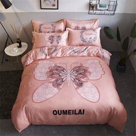 Pink Butterfly Printed Polyester 4-Piece Bedding Sets/Duvet Cover