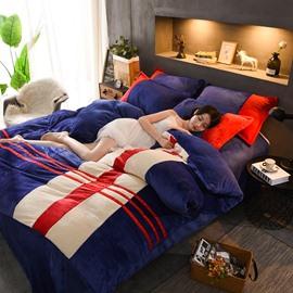 Sport Style Burgundy Coral Fleece 4-Piece Fluffy Bedding Sets/Duvet Cover