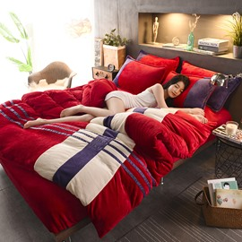 Red Stripes Sports Style Coral Fleece 4-Piece Fluffy Bedding Sets/Duvet Cover