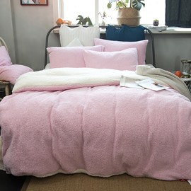 Solid Pink and White Reversible Coral Fleece 4-Piece Fluffy Bedding Sets/Duvet Cover