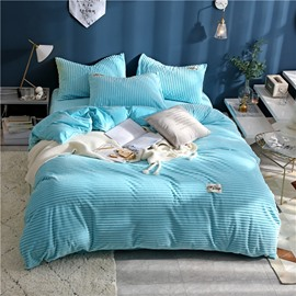Sky Blue Wavy Shape Princess Style 4-Piece Fluffy Bedding Sets/ Duvet Covers