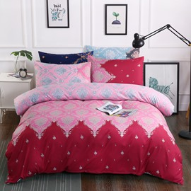 Red Floral Pattern Printed Polyester 3-Piece Bedding Sets/Duvet Cover