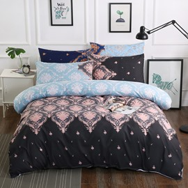 Royal Style Floral Pattern Printed Black Polyester 3-Piece Bedding Sets/Duvet Cover