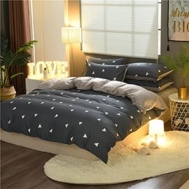 Simple Triangle Printing Cotton and Velvet 4-Piece Bedding Sets/Duvet Cover
