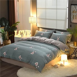 Simple Dog Printing Cotton and Velvet 4-Piece Bedding Sets/Duvet Cover