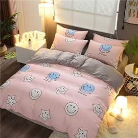 Smiling Face Printed Sweet Pink Cotton and Crystal Velvet 4-Piece Bedding Sets/Duvet Cover