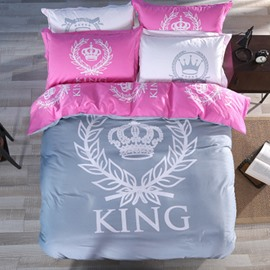 King and Crown Printed Grey and Pink Cotton 4-Piece Bedding Sets/Duvet Covers
