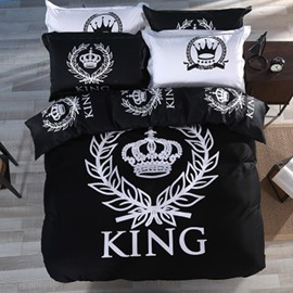 King and Crown Black Printed Cotton 4-Piece Bedding Sets/Duvet Cover